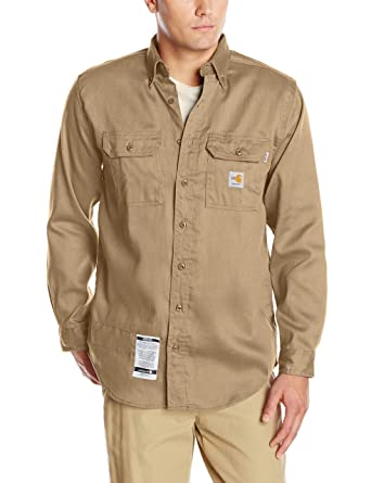 b7421ba870b Carhartt Men s Flame Resistant Lightweight Twill Shirt at Amazon Men s  Clothing store  Button Down Shirts