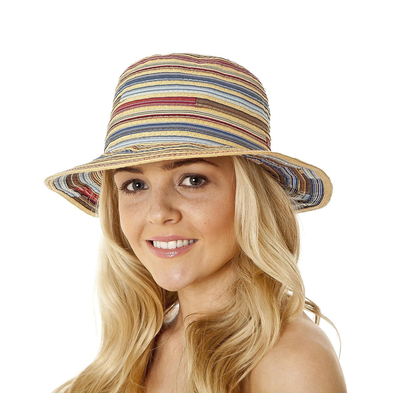 Tinksky Kinder Panama-Strohhut-Kappe Fedora-Hut Bunte gestreifte faltbare Sun-Kappe Bohemia Strand-Sommer