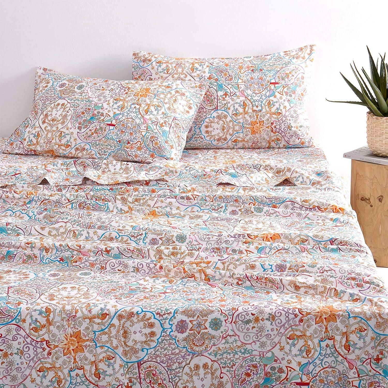 Wake In Cloud - Bohemian Sheet Set, 100% Cotton Bedding, Boho Chic Indian Mandala Printed (4pcs, Queen Size)