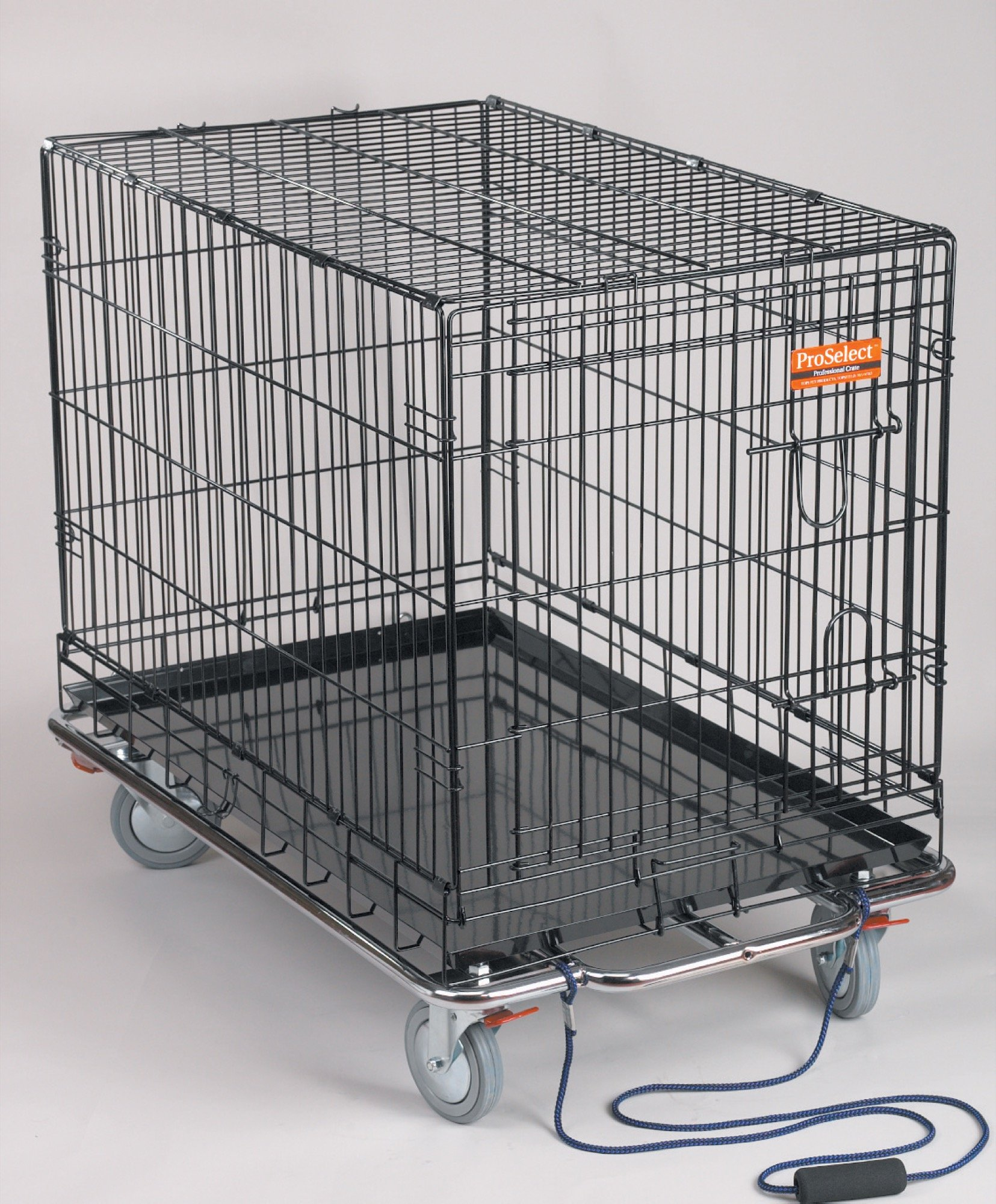ProSelect  Kennel Karts — Heavy-Duty Steel Chrome Carts with Wheels Designed to Move Kennel Cages Around Grooming Shops, Animal Clinics, Shelters, or Rescues