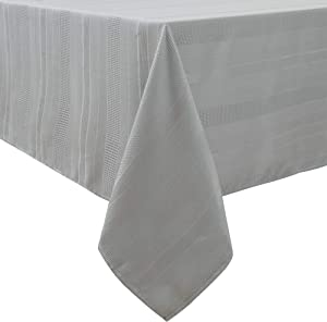 """Randall Grey Rectangle Tablecloth Oblong 60""""×120"""" 10 Feet Water Resistant Dust-Proof Stain Resistant Heavy Duty Table Cover for Kitchen Dinning Party Tabletop Decoration 10-12 Seats, Silver Grey"""