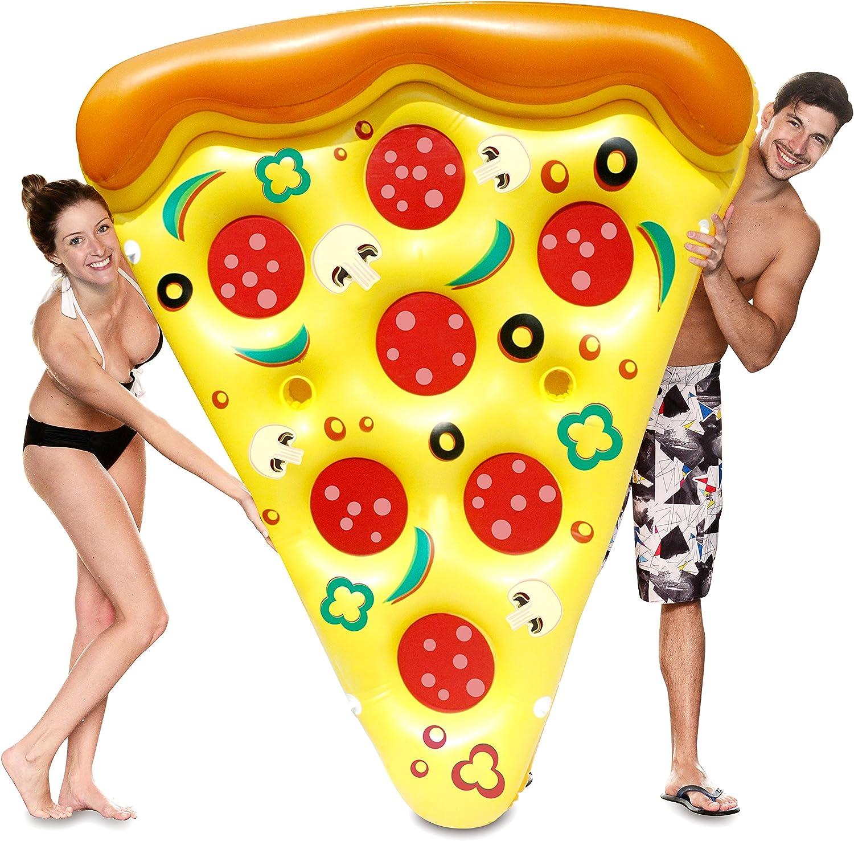 JOYIN Giant Inflatable Pizza Slice Pool Float Extra Large with Cup Holders Joyin Inc Summer Pool Raft 1 Pack Swim Party Toy Fun Pool Floaties