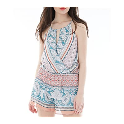 A. Byer Junior's Printed Wrap Front Halter Romper: Clothing