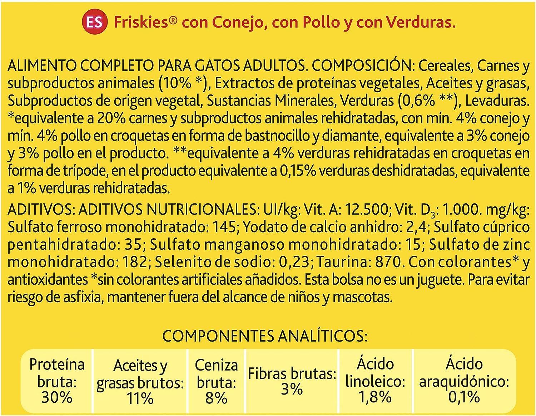 Purina Friskies Pienso para Gato Adulto Conejo, Pollo y Verduras 4 x 4 Kg