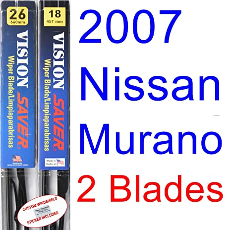 Amazon.com: 2007 Nissan Murano Replacement Wiper Blade Set/Kit (Set of 2 Blades) (Saver Automotive Products-Vision Saver): Automotive