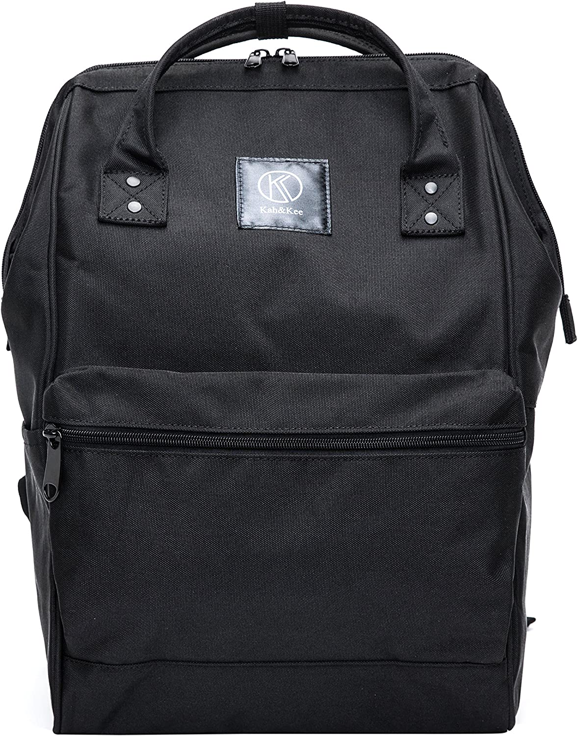 Kah&Kee Polyester Travel Backpack Functional Anti-theft School Laptop for Women Men (Black, Large)