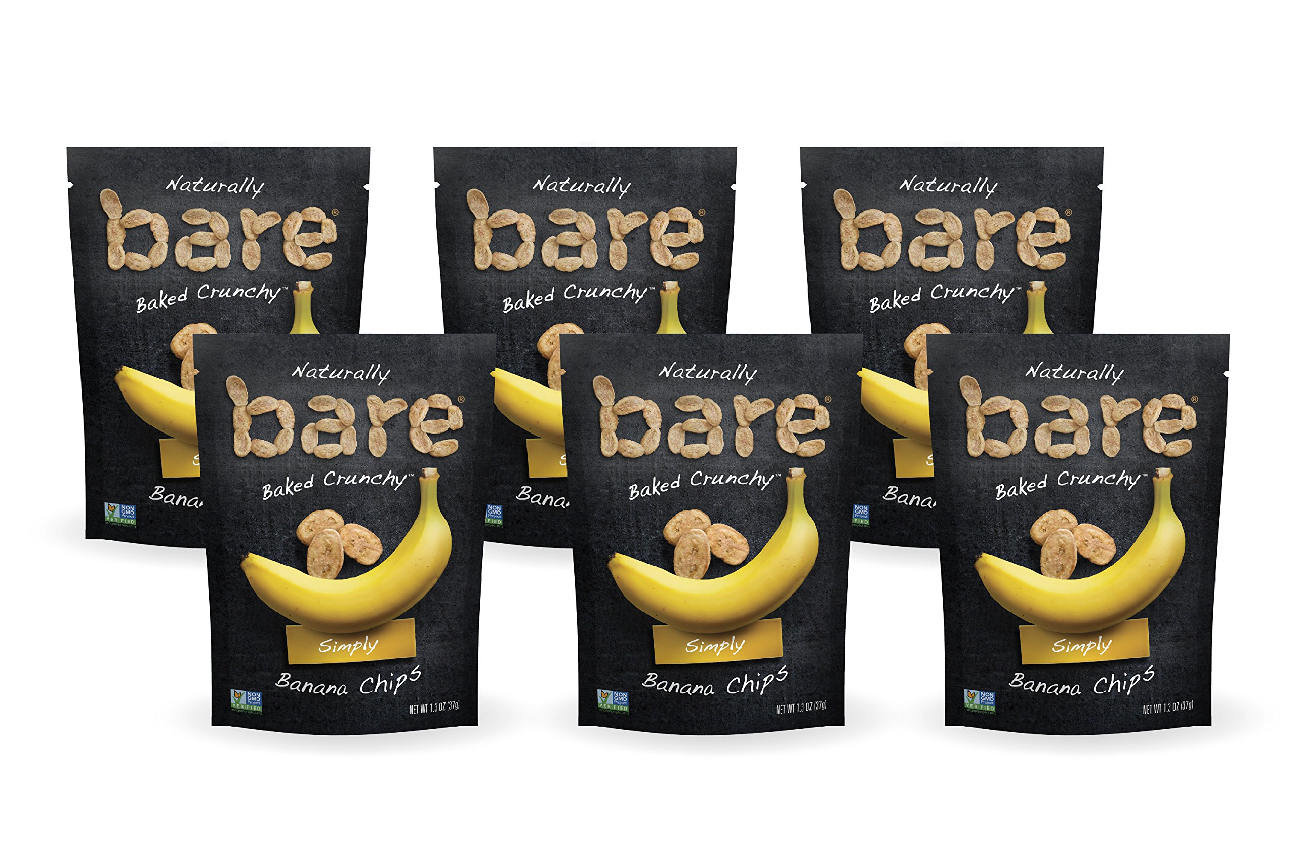 Bare Natural Banana Chips, Simply Toasted, Gluten Free + Baked, Single Serve Bag - 1.3 Oz (6 Count)