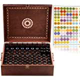 Beautiful Large Essential Oil Box - 77 Bottle With 2 Carry Handles - (Holds 5-30ml Holds NOW 1oz With Dropper Tops) Holds 1oz 2oz 4oz & 10ml Rollers - Free Roller Bottle Opener & 192 EO Labels