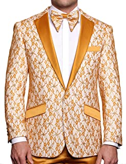 Mens Luxury Floral Sky Blue Dress Blazer Suit Jacket Modern Fit One Button w Bow Tie S-4XL Party Prom Stage Tuxedo