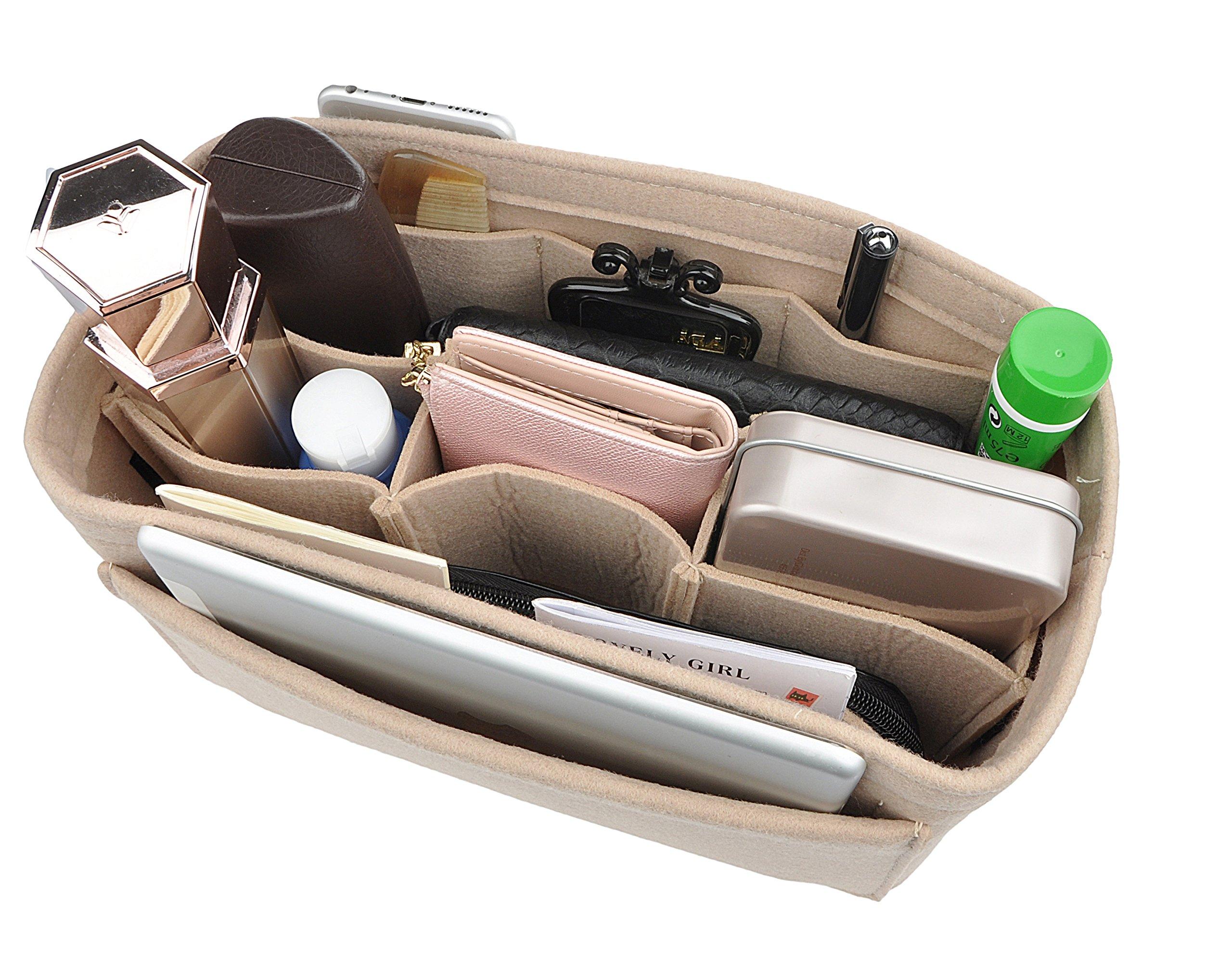 Women's Purse Organzier Sturdy Felt Handbag Liner Insert Bag BeigeL