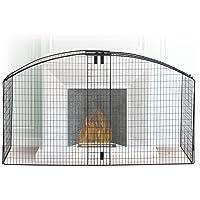 Relaxdays Kaminschutzgitter rund, Schutzgitter für Kinder, Funkenschutz Kamin & Ofen, max. 160 cm breit, Metall, schwarz