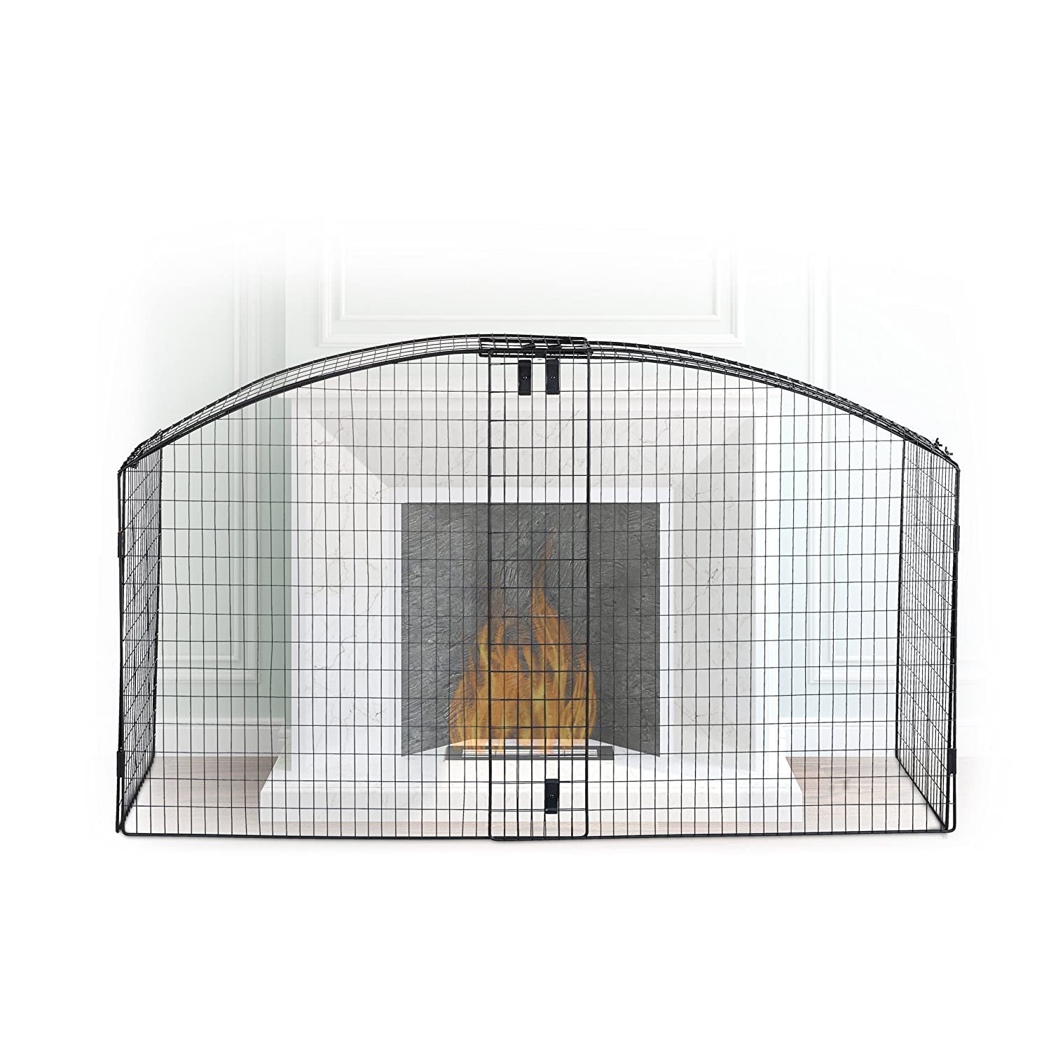 Relaxdays Round Fireplace Screen Children Safety Fence Spark Guard