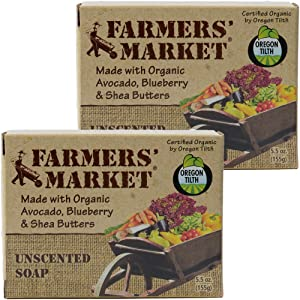 Farmers' Market Organic Bar Soap Unscented, Pack of 2, 5.5-Ounces Each