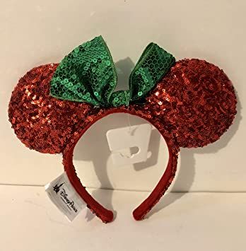 disney parks minnie mouse christmas ears headband sequin red green