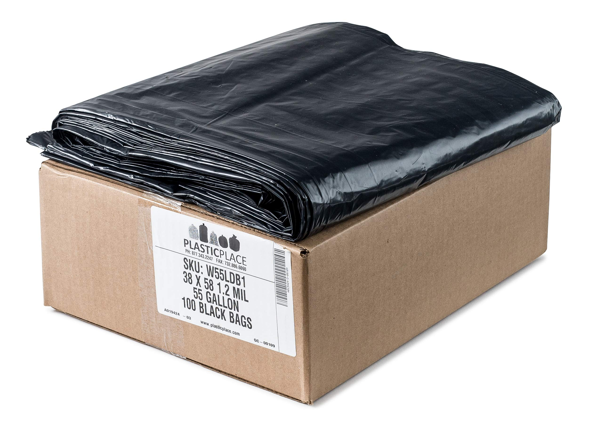 Plasticplace 55-60 Gallon Trash Bags │ 1.2 Mil │ Black Heavy Duty Garbage Can Liners │ 38'' x 58'' (100Count) by Plasticplace