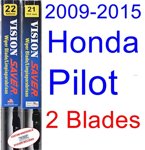 Amazon.com: 2009-2015 Honda Pilot Replacement Wiper Blade Set/Kit (Set of 2 Blades) (Saver Automotive Products-Vision Saver) (2010,2011,2012,2013,2014): ...