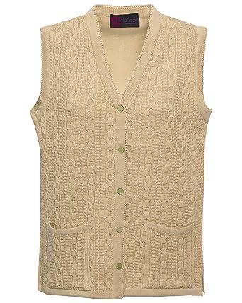 Women's Ladies New Quality Ribbed Knitted Pocket Waistcoat Sleeveless Cardigan Odzież, Buty i Dodatki Swetry i dzianina