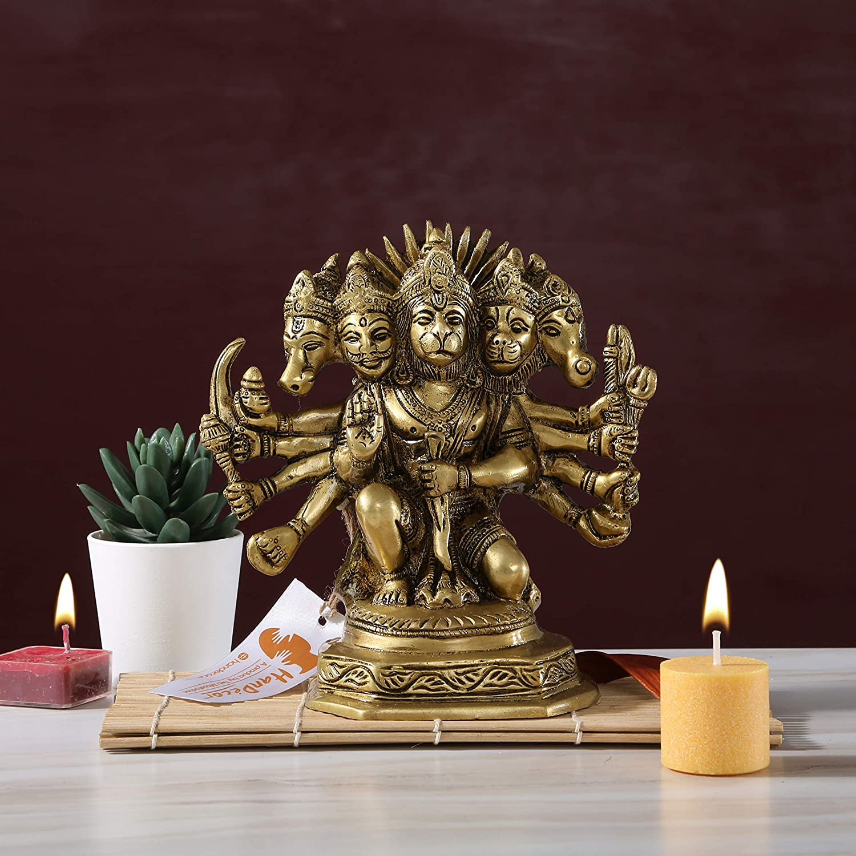 est/ándar VintFlea Brass Panch Mukhi Hanuman Idol oro