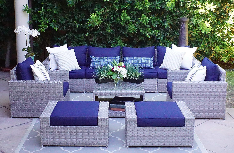 amazon com sunhaven resin wicker outdoor patio furniture set 9 rh amazon com aluminum vs wicker patio furniture aluminum frame wicker patio furniture