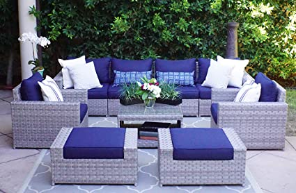 Amazon Com Sunhaven Resin Wicker Outdoor Patio Furniture Set 9
