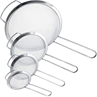 U.S. Kitchen Supply - Set of 4 Premium Quality Fine Mesh Stainless Steel Strainers with Wide Resting Ear Design - 3, 4…