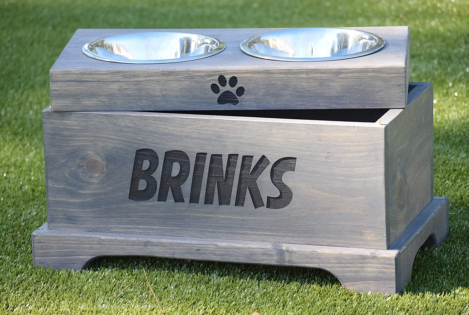 Pet Bowl Stand Elevated Dog Bowl Elevated Dog Feeder and Storage Box Rustic Dog Bowl Stand Raised Dog Feeder Raised Dog Bowl