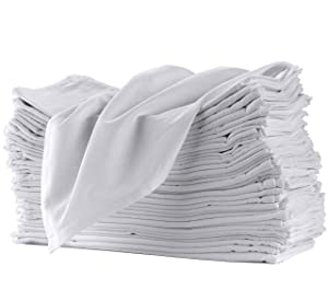 "Flour Sack Towels for Kitchen 12 Pack 100% Cotton Dish Towels. Pre-Washed, Lint Free, 27"" x 27"", Machine Hemmed Edges. Clean, Simple, Traditional Look. Great for Cleaning"