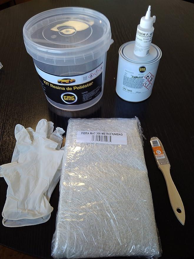 GMG Kit Resina DE Poliester +Manta Fibra de Vidrio+Brocha+Guantes: Amazon.es: Coche y moto