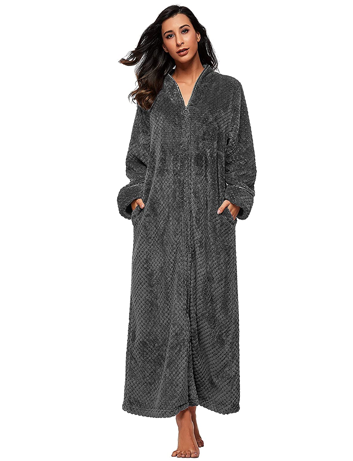 SEEU Women Soft Fleece Bathrobe with Zip Full Length Fluffy Dressing Gown  with 2 Side Pockets at Amazon Women s Clothing store  f126b5d35