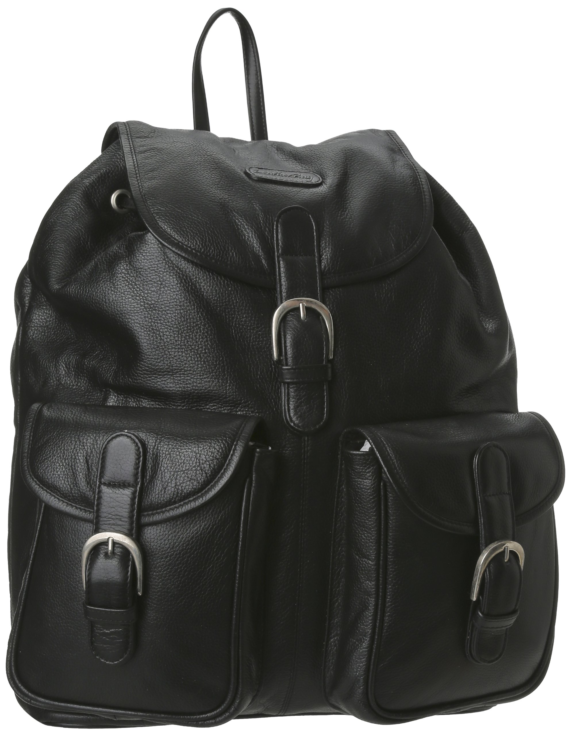 Leatherbay Leather Backpack with Pockets,Black,one size by Leatherbay