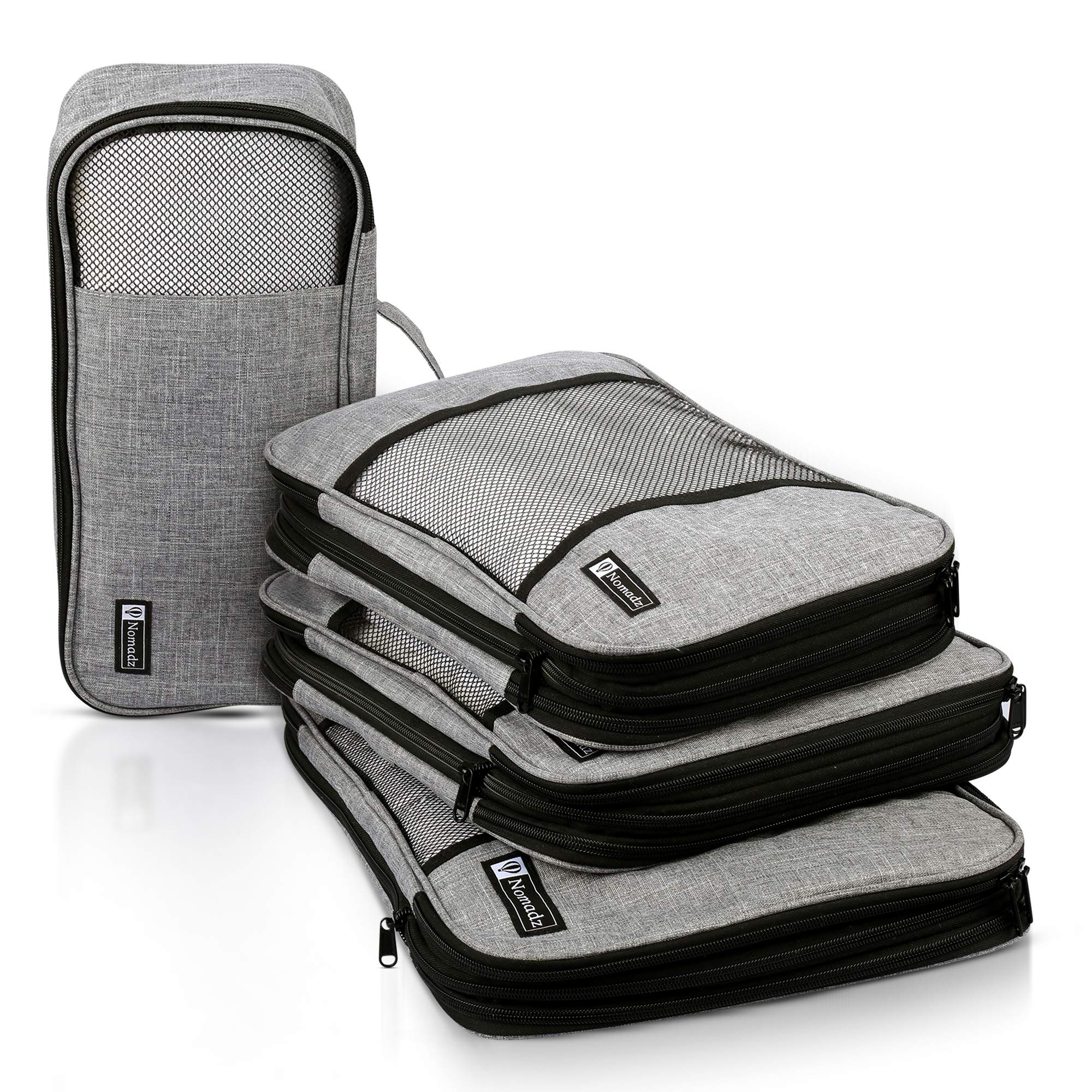 Compression Packing Cubes Travel Luggage-Organizer Set Packs More in Less Space (Double Sided) by Nomadz