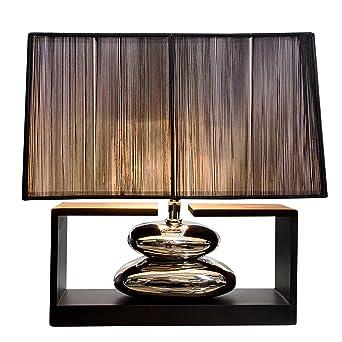 Tischleuchte Campen Stoff Schwarz Tischlampe Modern Tisch Leuchte Lampe Industri