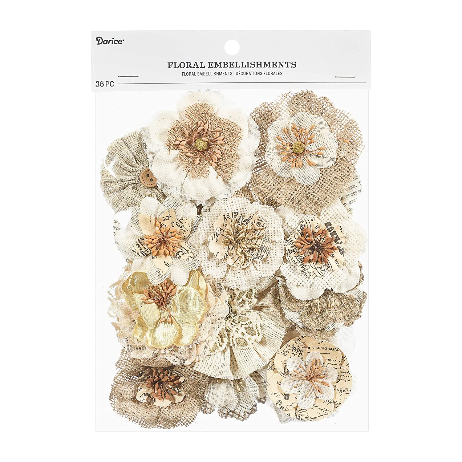 36 Pack Darice 30062021 Floral Embellishment Value Natural