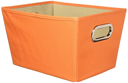 Great Honey Can Do Decorative Storage Bin With Chrome Handles, Small, Orange