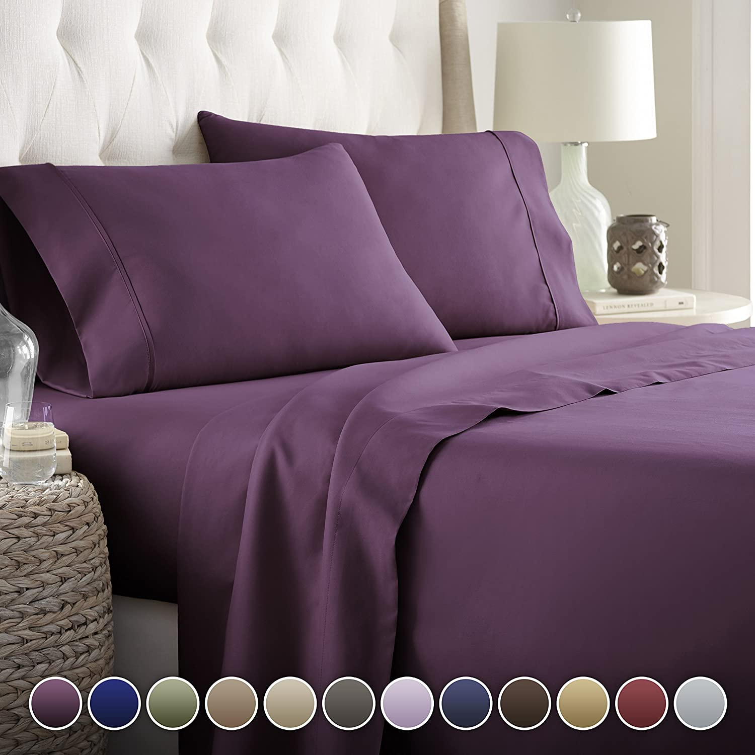 Hotel Luxury Bed Sheets Set- 1800 Series Platinum Collection-Deep Pocket, Wrinkle & Fade Resistant(Queen,Eggplant): Home & Kitchen