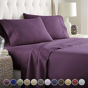 Hotel Luxury Bed Sheets Set- 1800 Series Platinum Collection-Deep Pocket,Wrinkle & Fade Resistant (King,Eggplant)