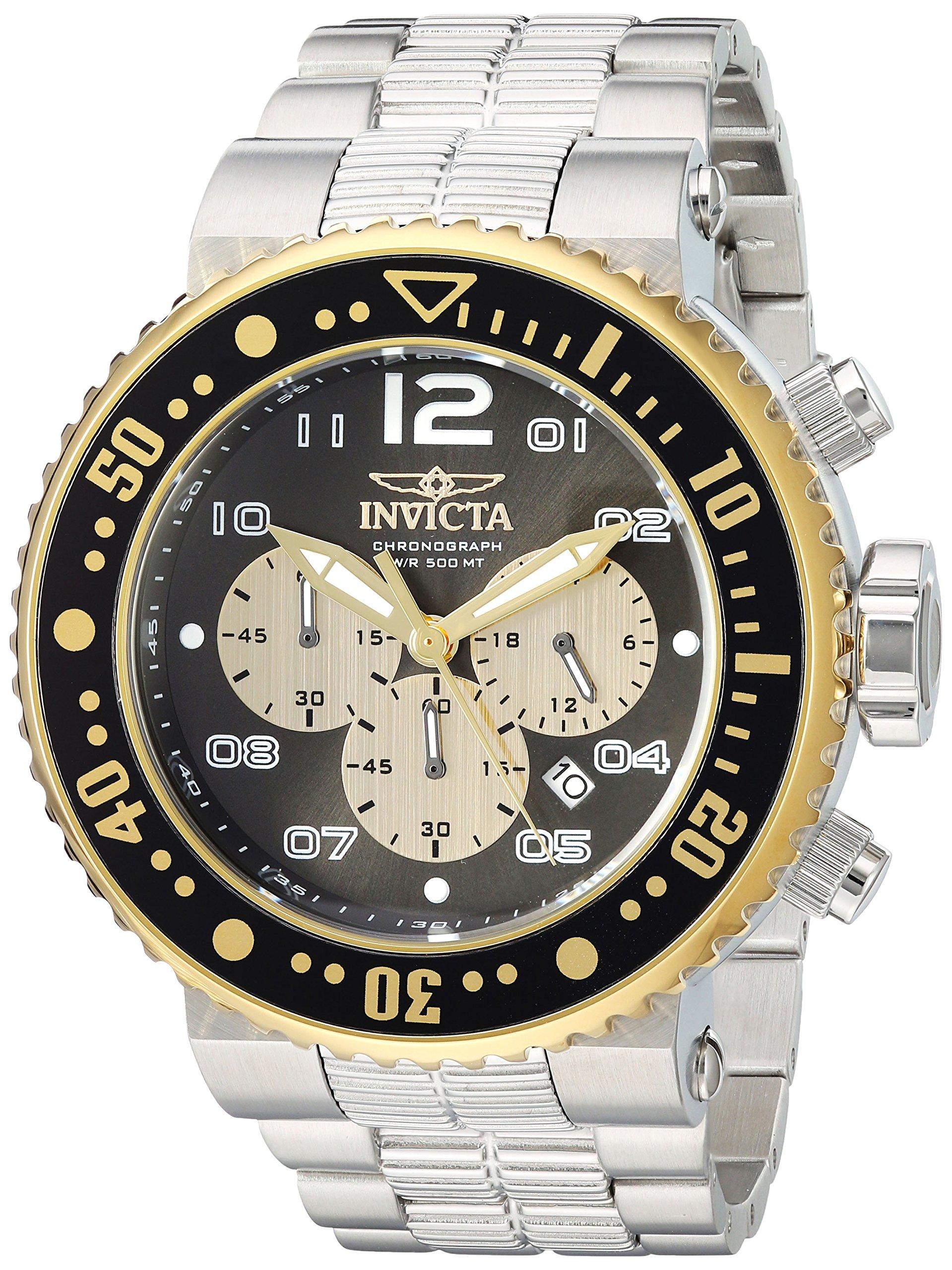 Invicta Men's Pro Diver Quartz Watch with Stainless-Steel Strap, Silver, 22 (Model: 25075) by Invicta