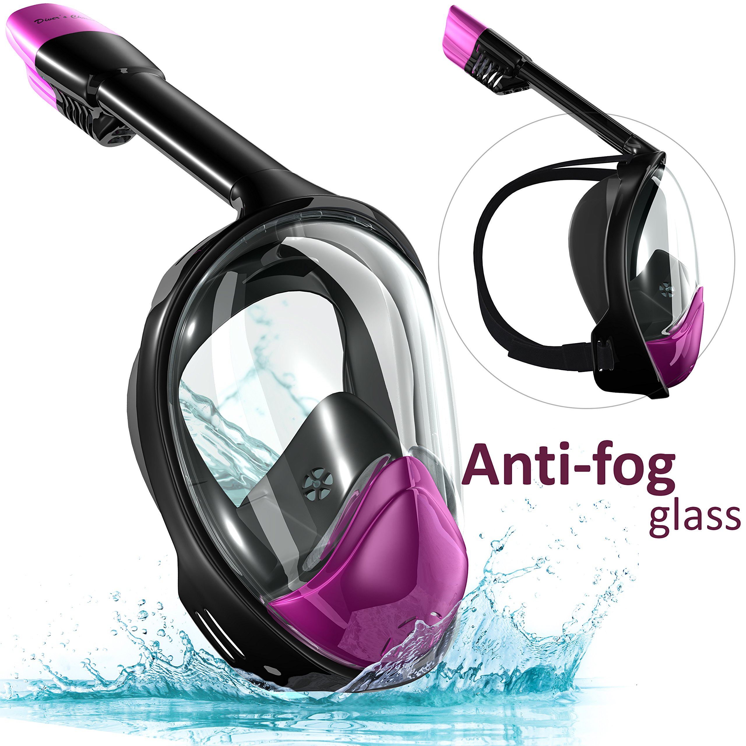 Snorkel Set Full Face Mask, Seaview with Camera Mount Divers Choice Black/Purple (Size- S-M) For Youth and Women by Diver's Choise