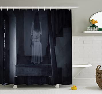 Halloween Shower Curtain By Ambesonne, Horror Scenery Ghost Girl Figure On  Stairway Holding Axe Murder