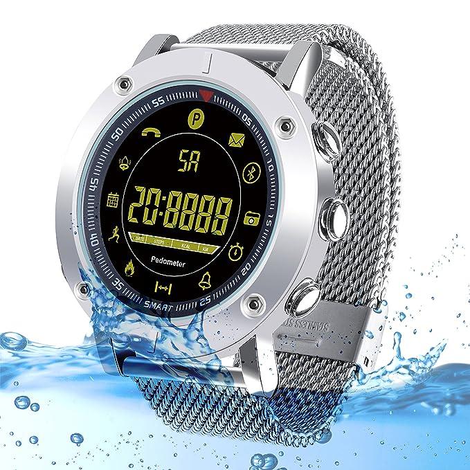 Kingkok Bluetooth Outdoor Smart Sports Watch with Steps Counter Calories Stopwatch Phone Reminder Waterproof Digital Smartwatch