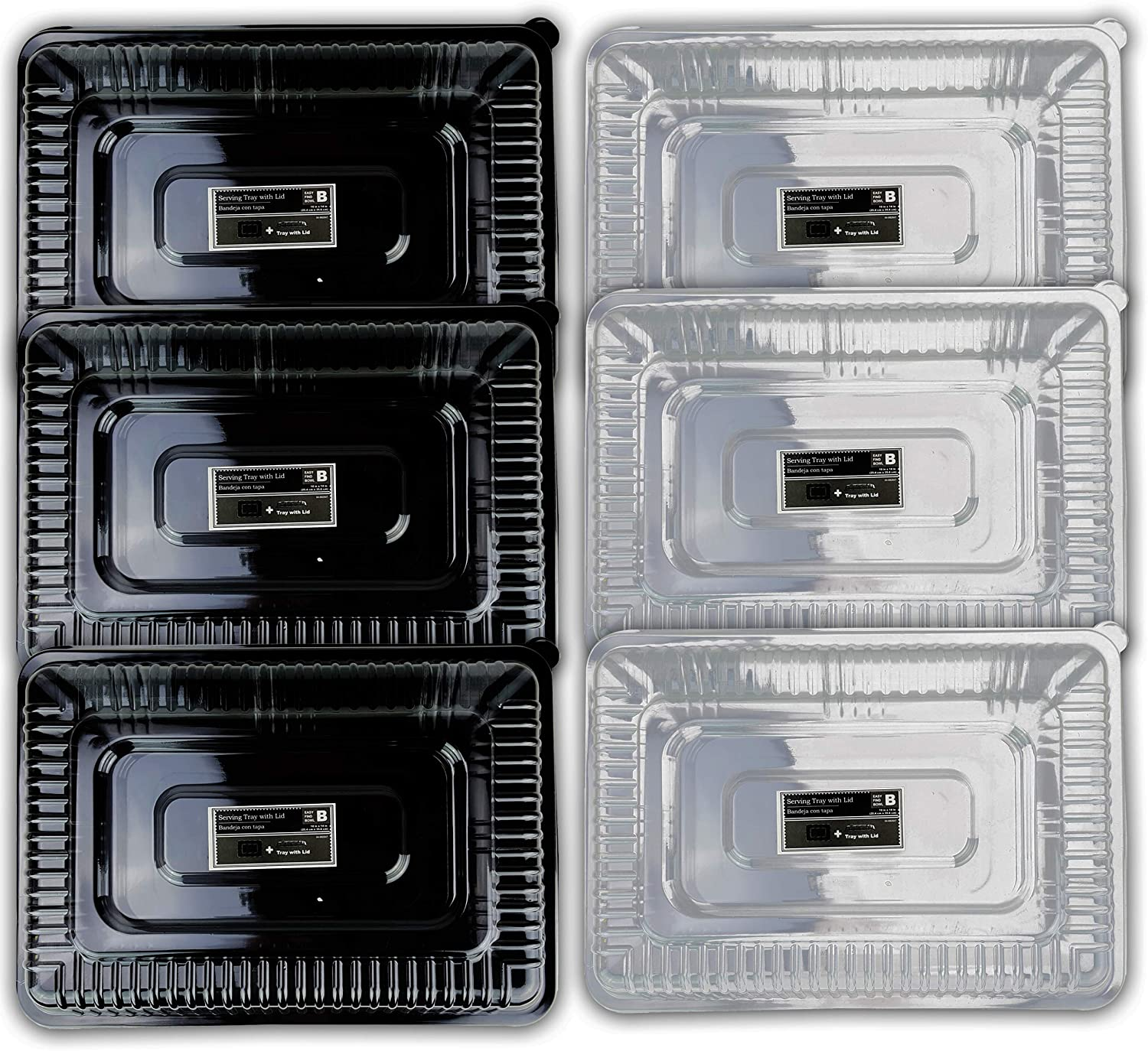 Disposable Catering Party Tray Food Platter + Clear Dome Lid ~ 6 Pack Black and White 10