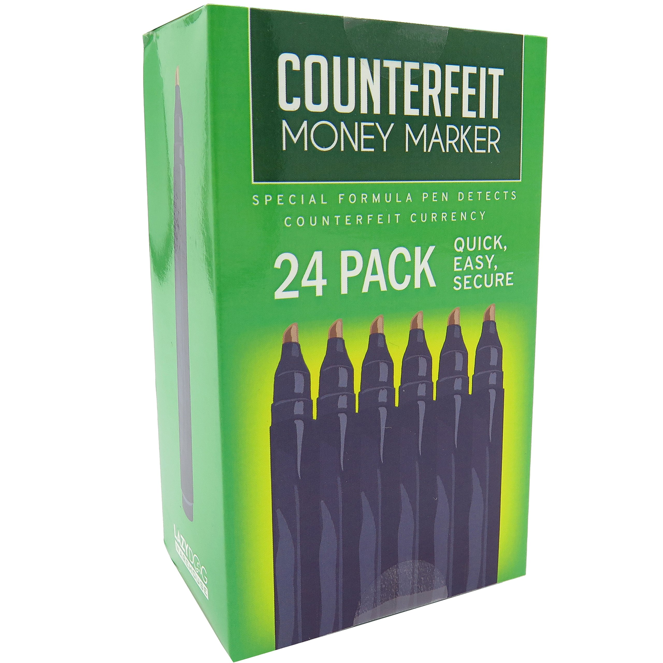Counterfeit Pens - Money Detector Markers - Detects Fake Counterfeit Bills (24pack)