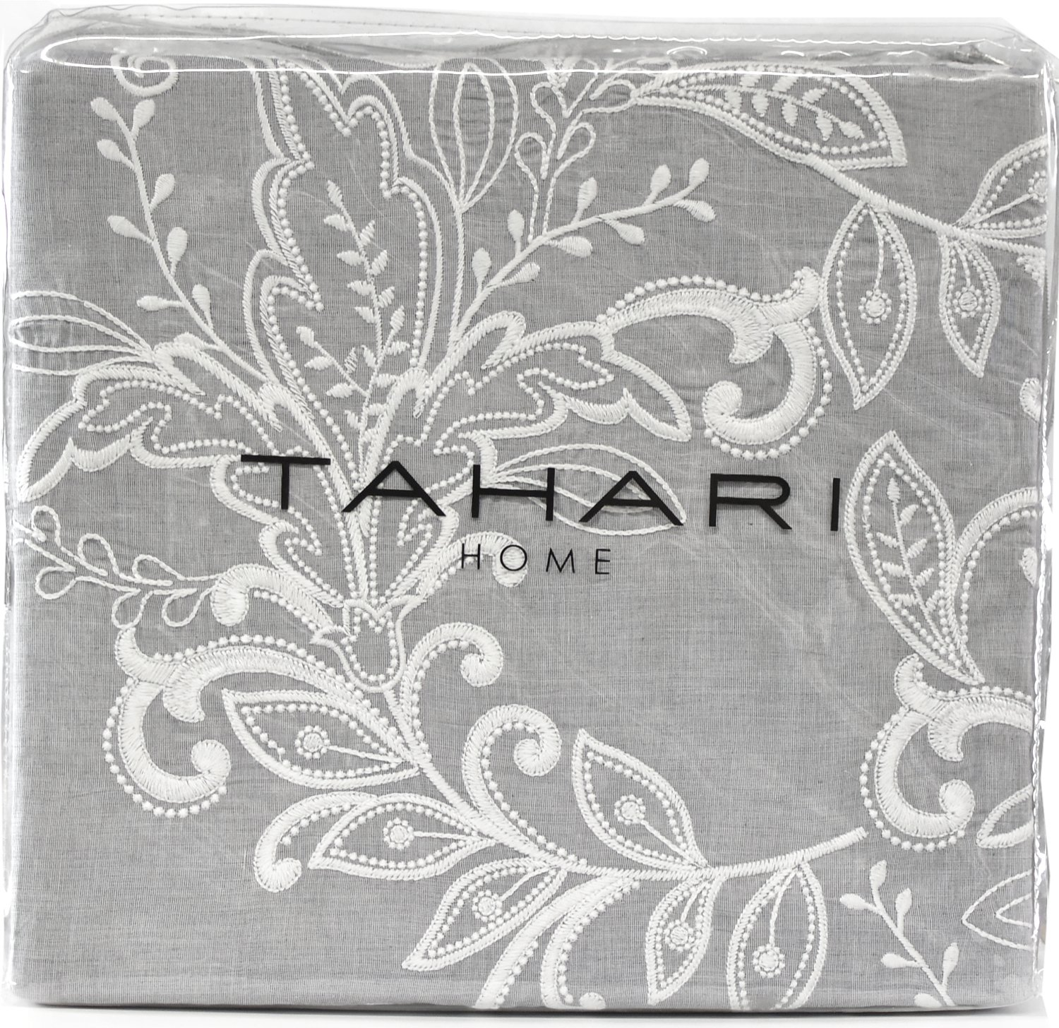 Tahari Home 100% Cotton Floral Damask 3pc Full Queen Duvet Cover Set Textured Stitching Embroidered Medallions (Grey Chambray, King)
