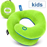 BCOZZY Kids- Travel Pillow- Supports Child's Head, Neck & Chin While Sleeping in Booster Carseat. Best Toddler Accessory & Activity for Traveling on Airplane and Road Trips. Green