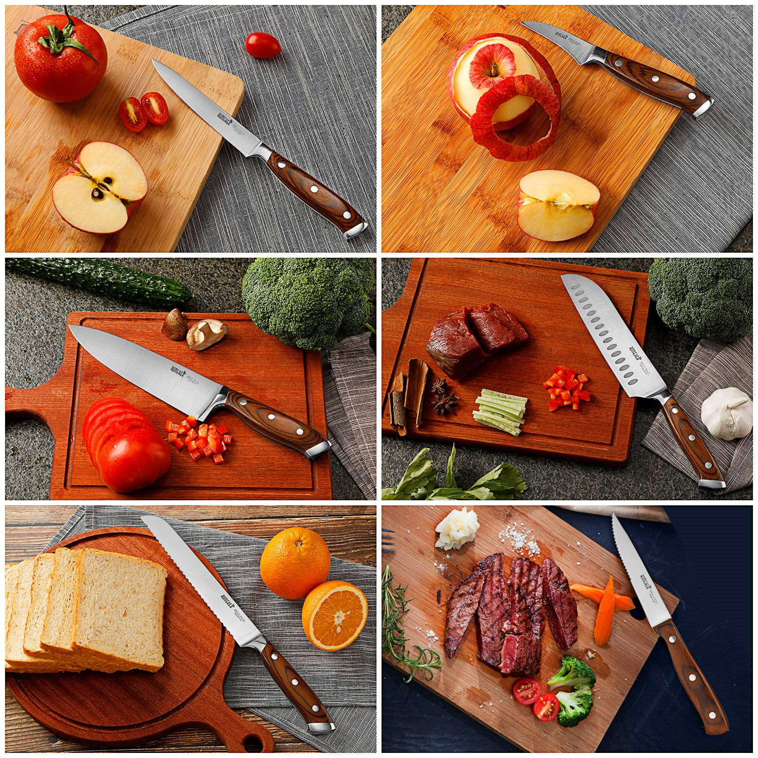 Knife Set,6-Piece Kitchen Knife Set with Wooden Block Germany High Carbon Stainless Steel Knife Block Set,Chef Knife Set Boxed Knife Set by ROMEKER by ROMEKER (Image #6)