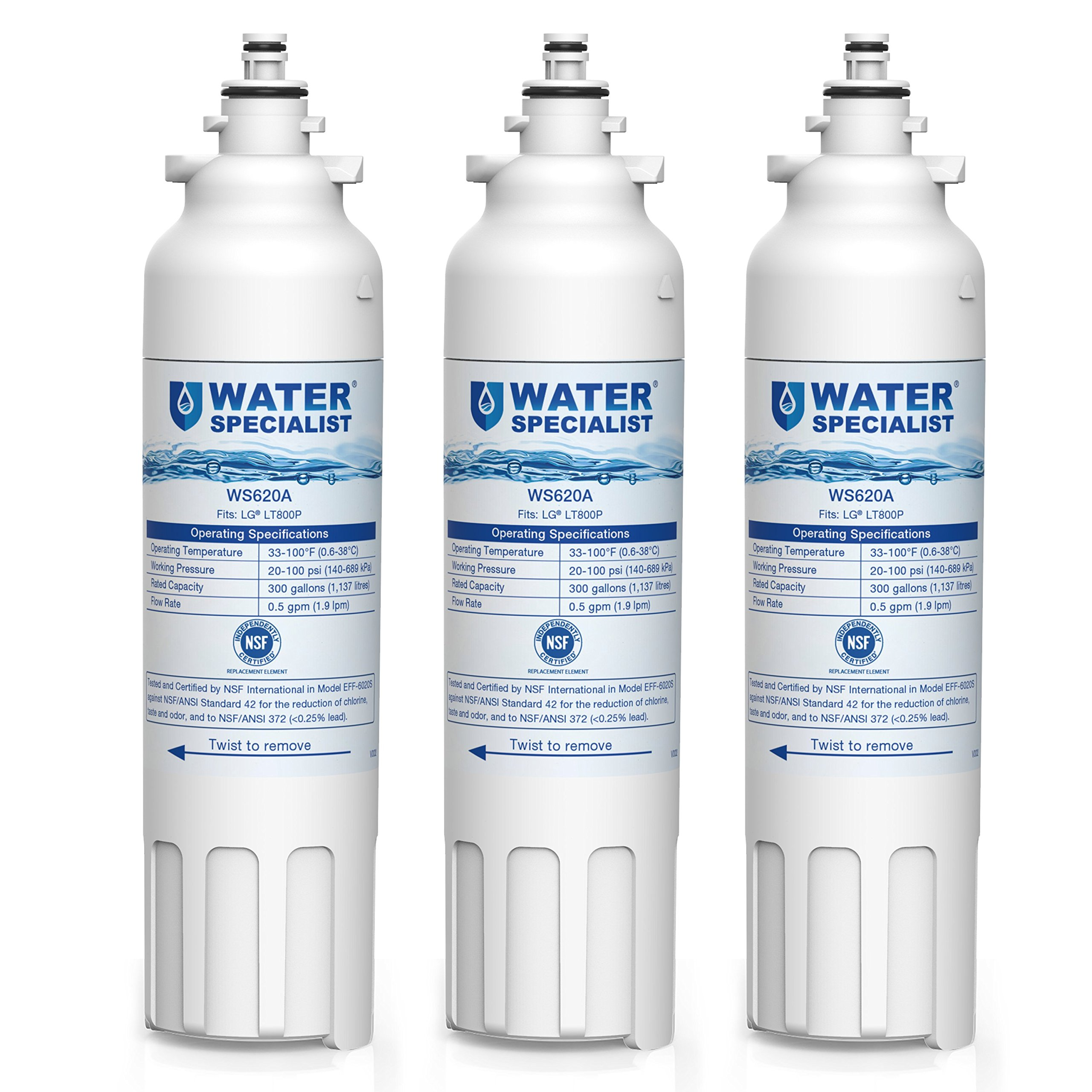 Waterspecialist LT800P Replacement Refrigerator Water Filter, Compatible with LG LT800P, Kenmore 9490, ADQ73613401, LSXS26326S, LMXC23746S, WF-LT800P, 469490, LMXC23746D, ADQ73613402, 46-9490, 3 Pack