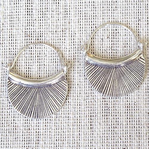 Bohemian Earrings U Shape Flower Earrings 38mm Pair of Handmade Antique Silver Earrings