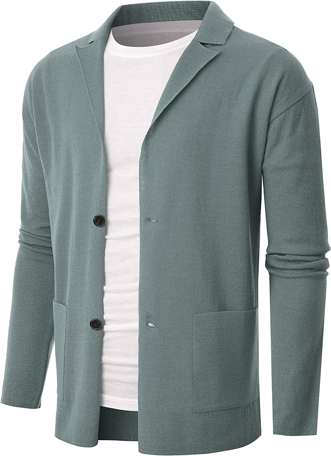 OHOO Mens Long Sleeve Two Button Linen Natural Style Cardigan