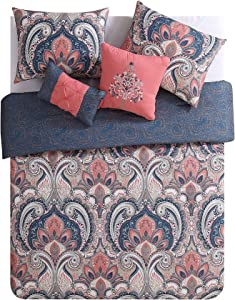 VCNY Home | Casa Real Collection | Soft Microfiber Paisley Reversible Comforter, Premium 5 Piece Bedding Set, Stylish Retro Design for Home Décor, Full/Queen, Coral