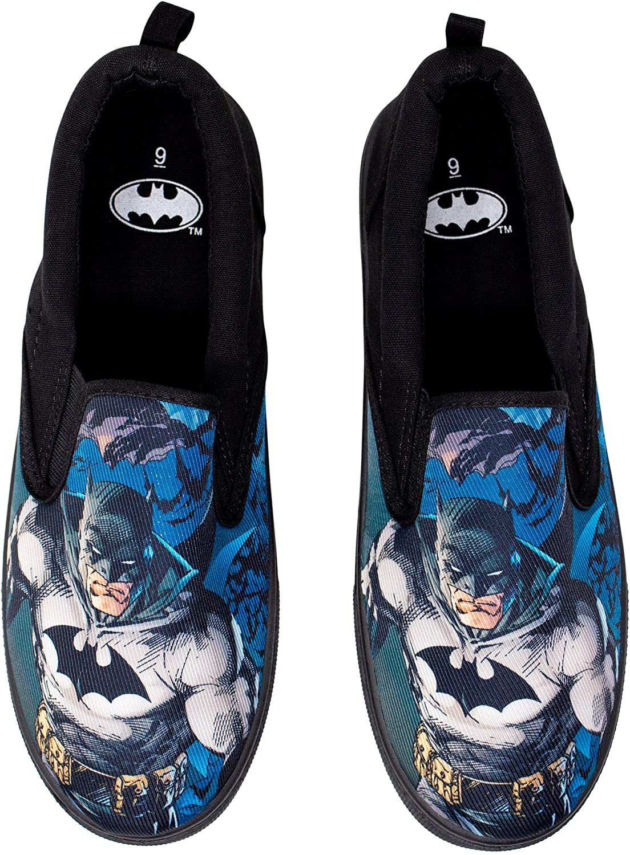 DC Comics BATMAN All-Over Logo Print Canvas Ladies Slip-On SHOES
